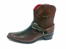 Mens Gents Western Style Snake Skin Cowboys Ankle Boots Black Brown White