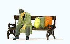 Preiser OO/HO Gauge Homeless Man on Bench Plastic Figure 29094