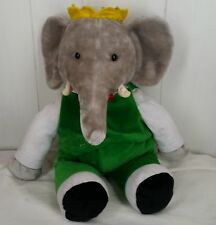"Babar the Elephant King Plush Green Suit 17"" Gund Stuffed Animal 1988 Nwt"
