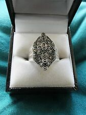 Ladies 925 Silver Ring with Marcasite inset - Size P - 6.8g
