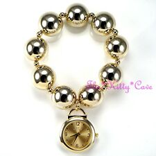 Designer Gold Plt Big Chunky Ball Beads Boho Chic Sexy Cuff Bracelet Charm Watch