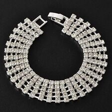 Womens White Gold Filled Silver 5-Row Swarovski Crystal Tennis Bracelet