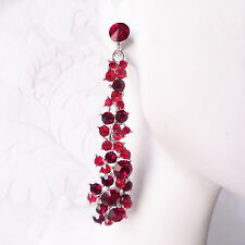 Long Red Prom Earrings Art Deco Costume Jewelry Crystal Graduation Gift