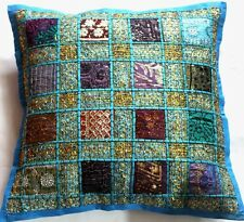 "Cushion Covers 16x16"" Indian Embroidery Patchwork Square Moroccan TAPESTRY EDH"