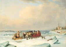 """oil painting handpainted on canvas """"The Ice Bridge at Longue-Pointe""""@NO3808"""