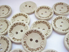 """10 """"Handmade"""" Wood Sewing Buttons 25mm (1"""") Hand Made Crafts Clothes Buttons"""