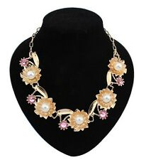Lady Jewellery Charm Pink Crystal Faux Pearl Inlay Leaf Flower Pendants Necklace