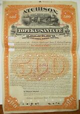 Santa Fe Railway 1889  $500 Gold Bond Certificate  issued & cancelled -  Stock