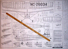 "Vintage CESSNA 180 36"" Berkeley FF/RC Model Airplane PLAN + All Parts Patterns"