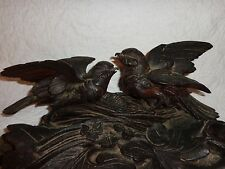 """Antique Black Forest Carved Wood Double Inkstand, Figural Birds, 14-1/2"""" long"""