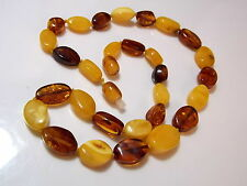 Vintage Natural Baltic Amber Golden Honey Brown 15.4g Knotted Bead Necklace 4i14