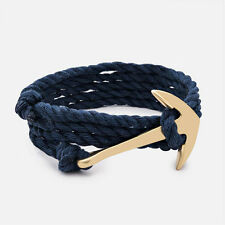 Navy Blue Rope Gold Metal Alloy Anchor Bracelet Jewelry by Maya Bracelets W/ Bag