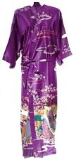 (810306)Purple Ladies Long Silk Satin Feel Kimono Robe Dressing Gown 12-18 UK