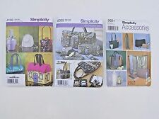 ✔️ Lot 3 Purse Hand Bag Wine Tote Phone Case Cosmetic Lunch Sewing Pattern UNCUT