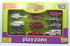 Just Kidz Playzone Set of 10 Rescue Diecast & Plastic Vehicles - New in Box