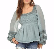 135178 New $89 Free People Crochet Lace Gray Moonchaser Peasant Blouse Top S