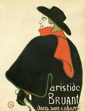 """""""ARISTIDE BRUANT"""" Planche originale entoilée Litho TOULOUSE-LAUTREC 1893 24x30cm"""