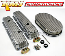 58-86 SBC Chevy 350 Finned Retro Aluminum Valve Covers Air Cleaner Dress Up Kit