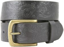 Western Floral Engraved Full Grain Leather Belt 1-1/2'' Wide, Black Brown White