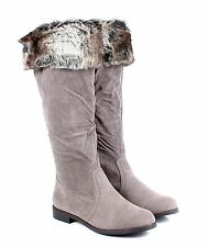 Black / Gray 2 Color Sexy Zip Open Faux Suede Fur Womens Knee High Boots Shoes