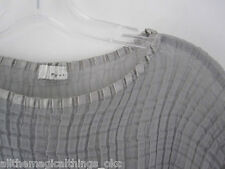 POLECI Gray Sheer Chiffon Accordion Pleat Top BLOUSE Made in USA - Size M