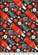Coca-Cola Bottles Red On Black Quilt Fabric - 1 Yard