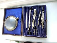1890s era DRAWING INSTRUMENTS PART SET AND BOX TO RESTORE ETC  BARGAIN