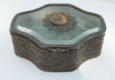 Vintage Jewelry Box Beveled Glass Lid Printemps w Filigree
