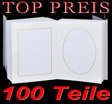 Leporello para 100 Fotos 13x18 blanco con Bordes dorados Passepartout cuadrado+