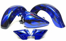 New Road King Classic Blue and Black Tribal Flames Tank Fenders Custom Paint Set