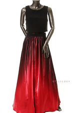 BESTY & ADAM $249 Red 2815 Illusion Popover Ombre Gown Evening Dress Petites 2P