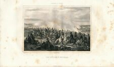 Napoleon's Lancers at Battle of Waterloo Horses 1850 antique print