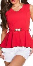 Red peplum top with gold belt one size 8 10 12 smart sexy top