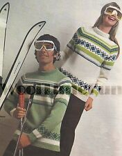Vintage Knitting Pattern Mens & Womens Retro Ski/Fair Isle Jumpers.