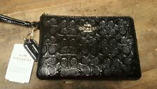 COACH NWT Black Corner Zip Wristlet Signature Embossed Patent Leather Gift