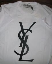 YSL XL Yves Saint Laurent Velvet Flocked Logo T-shirt~Tee Mens 100% AUTHENTIC