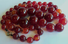VINTAGE DECO LONG 33IN HEAVY BAKELITE CHERRY AMBER GRADUATED BEAD NECKLACE 139gr