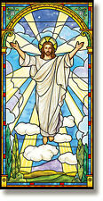 "Stained Glass Series Risen Christ Church Banner  2.5' Wide x 5"" High"