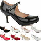 WOMENS LADIES LOW MID KITTEN HEEL STRAP WORK CASUAL SMART COURT SHOES PUMPS SIZE