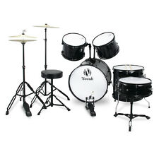 NEW Drum Set for Beginners Complete Adult Full Size 5pc Set with Cymbals, Black
