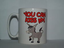 YOU CAN KISS MY 'ASS' Funny/Novelty/Rude Cartoon Donkey Printed Tea/Coffee Mug