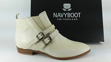 E16-NAY SCARPE DONNA 40 STIVALETTI NAVYBOOT BIANCO MADE IN ITALY 100% PELLE