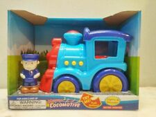 Musical Locomotive train and figure with lights and sounds blue New in box