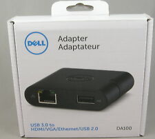 Dell 4-in-1 Travel Adapter USB 3.0 to HDMI/VGA/Ethernet/USB 2.0 DA100 - NIB