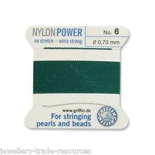 Green Nylon Potencia sedoso Cadena Hilo 0,70 mm Encordar Perlas Y Cuentas Griffin 6