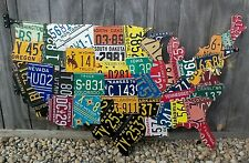 LARGE CUTOUT LICENSE PLATE MAP- METAL WALL ART-  ALL 50 STATES!  (Pub Bar Art)