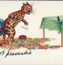 SCARCE WAIN..! CAT WITH TAIL TIED TO CHAIR IS TAUNTED BY MOUSE,GERMAN POSTCARD
