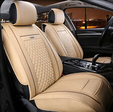 Car Seat Covers PU Leather Fits For All 5-Seat Car Beige For Year Round
