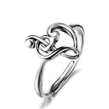 925 Sterling Silver Treble G Clef Bass Music Musical Note Heart Ring Adjustable