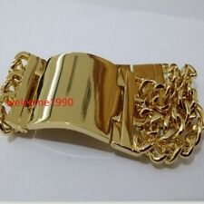 High Quality Men Stainless Steel ID Bracelet Huge Curb Chain Gold 22mm 8.66''